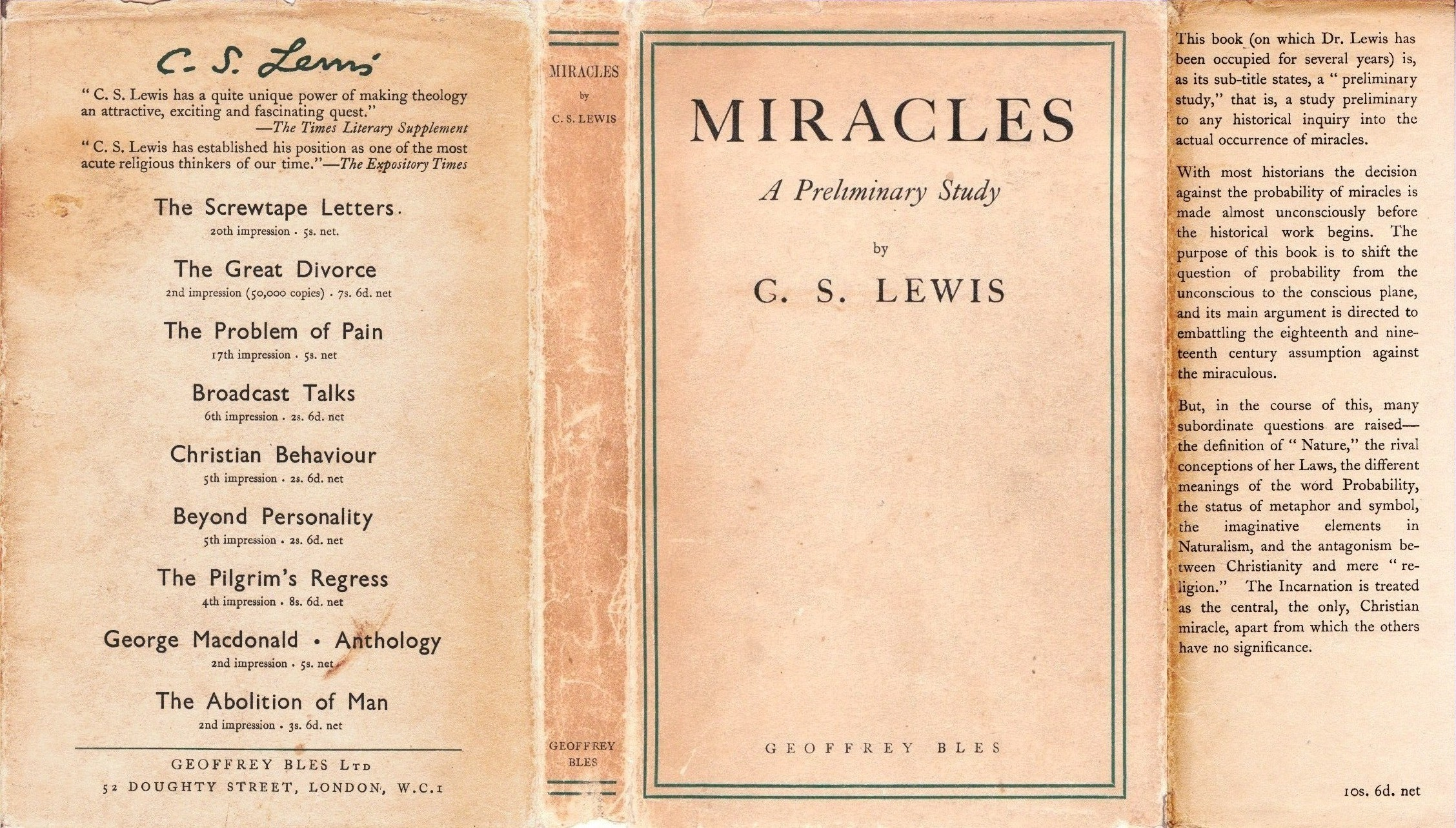 LEWISIANA: Quotations and Allusions in C  S  Lewis, Miracles (1960)